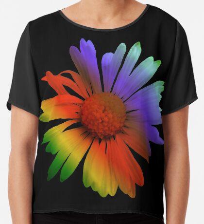 wunderschöne, bunte Margerite, Blume, Regenbogen Chiffontop für Frauen