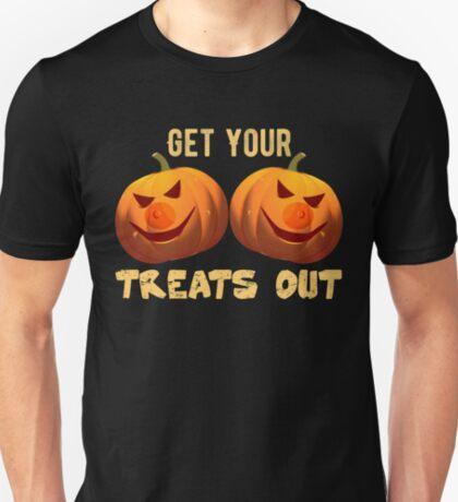 Treats Out Halloween Shirt Sexy Funny Pumpkin Boobs Gift T-Shirt