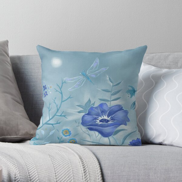 Dusty Blue Floral Painted Dragonfly Throw Pillow