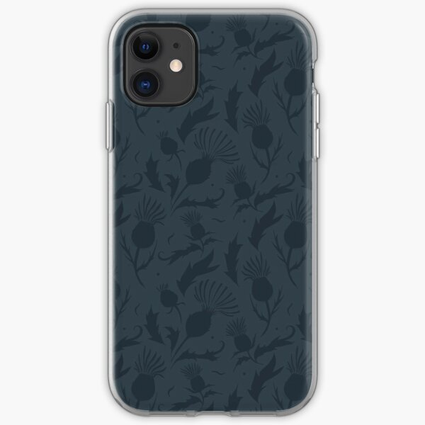 Charcoal Thistle Pattern iPhone Soft Case