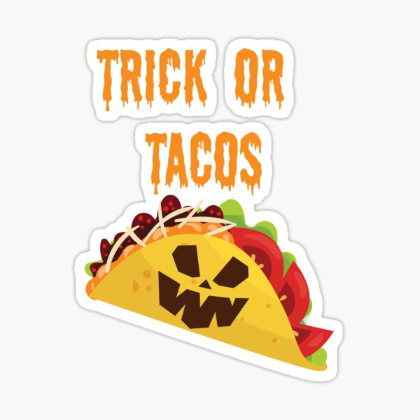 Trick or Tacos Halloween Taco Design Sticker