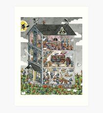 Haunted House Ants Art Print