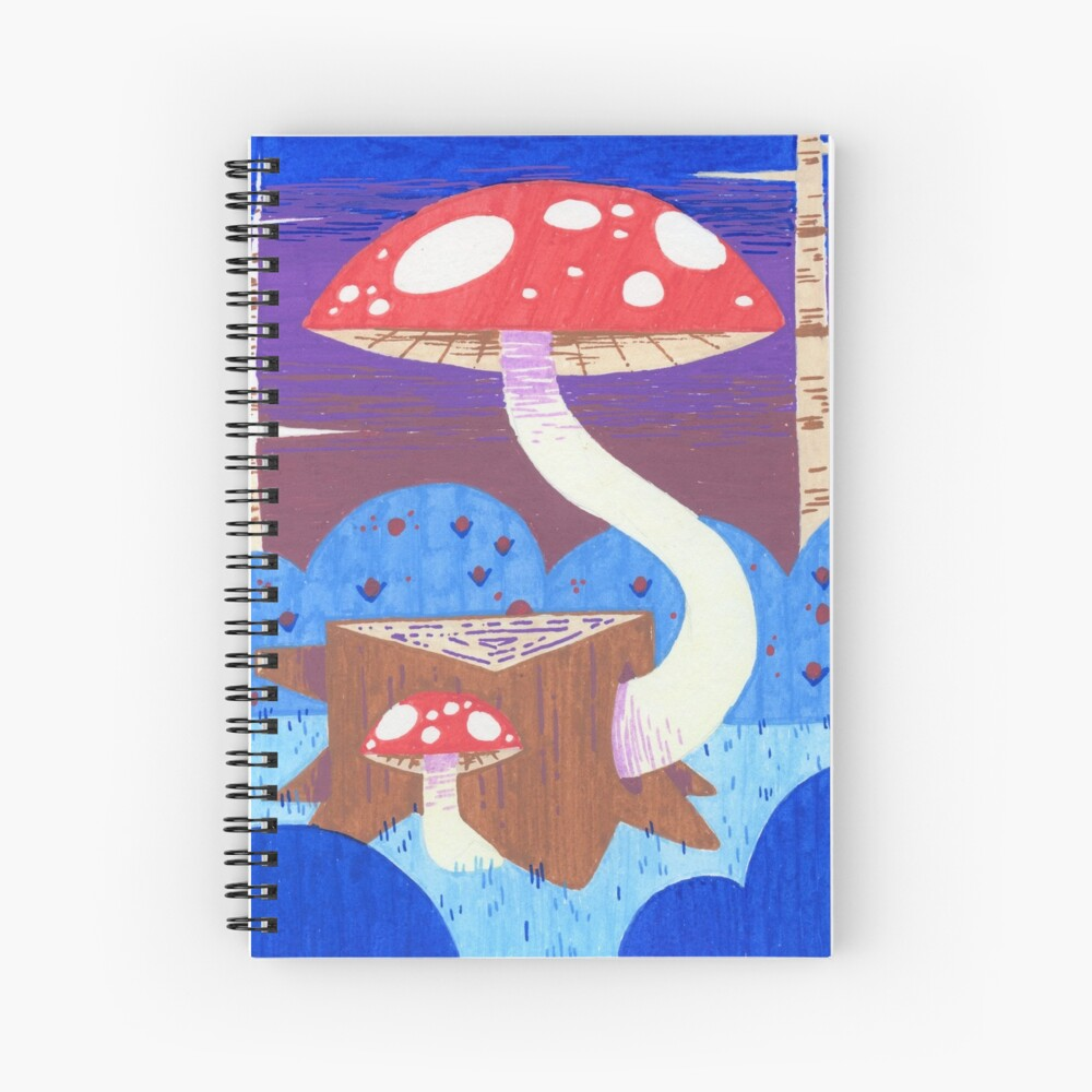 Two Mushrooms, One Stump Spiral Notebook