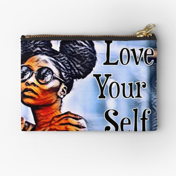 Love Your Self African American Black Woman Zipper Pouch