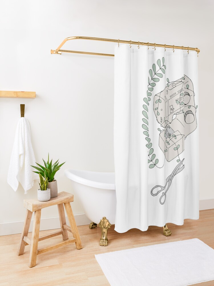 Alternate view of The Sewing Machine Escape Shower Curtain