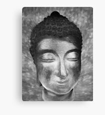 Silver buddha head by Brian Vegas Canvas Print