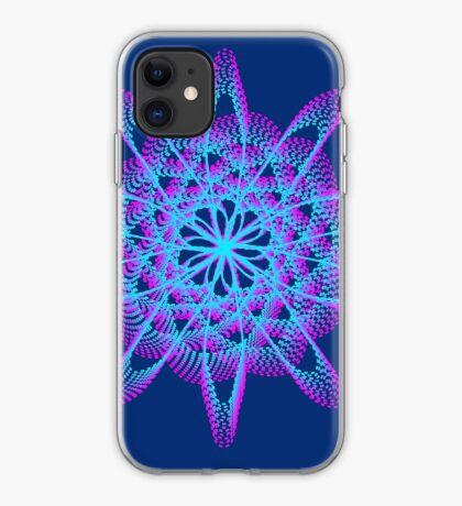 Spirograph with pink and blue iPhone Case