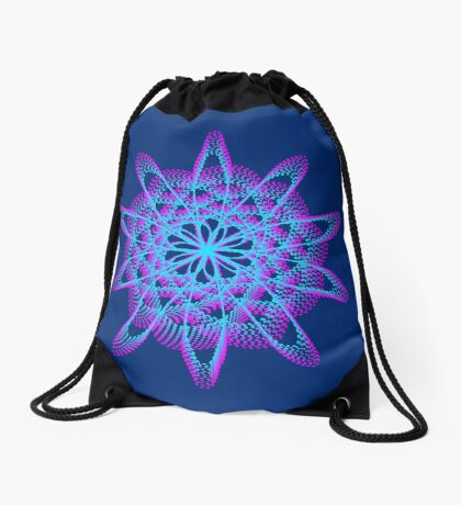 Spirograph with pink and blue Drawstring Bag