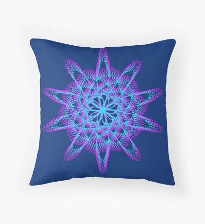 Spirograph with pink and blue Throw Pillow