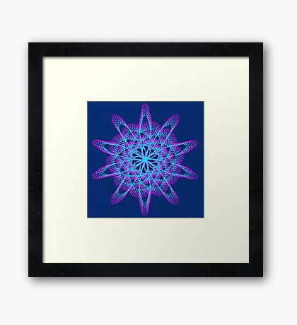 Spirograph with pink and blue Framed Print