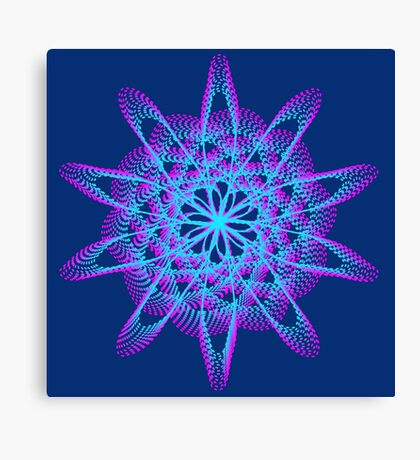 Spirograph with pink and blue Canvas Print