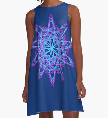 Spirograph with pink and blue A-Line Dress