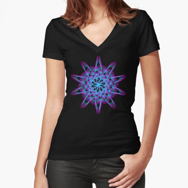Spirograph with pink and blue Fitted V-Neck T-Shirt