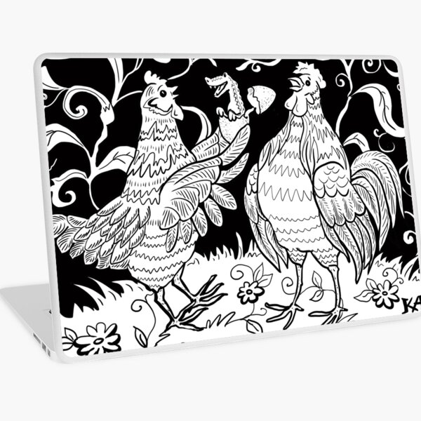 Surprise! Black and White Chickens and Egg Laptop Skin