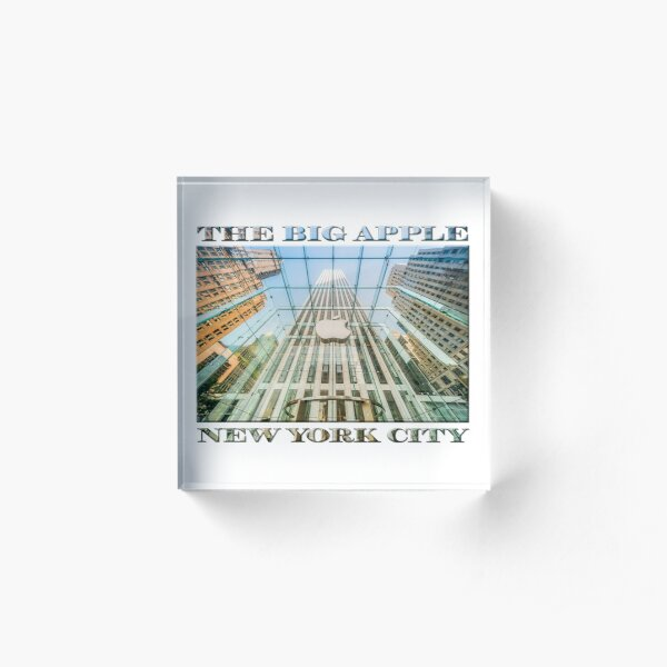 Big Apple in the Big Apple (poster on white) Acrylic Block