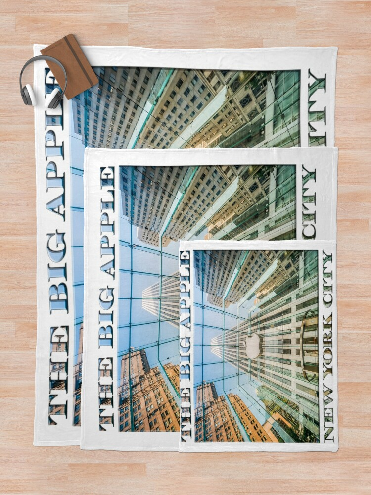 Alternate view of Big Apple in the Big Apple (poster on white) Throw Blanket