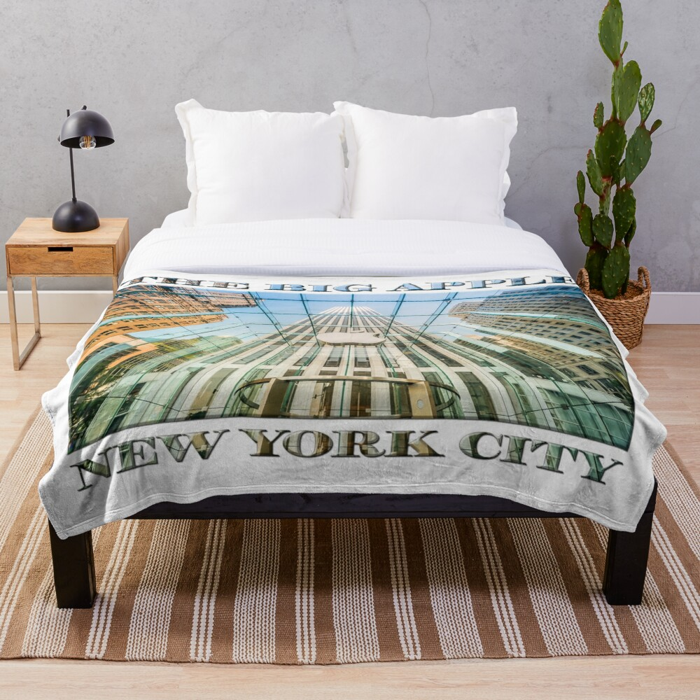 Big Apple in the Big Apple (poster on white) Throw Blanket