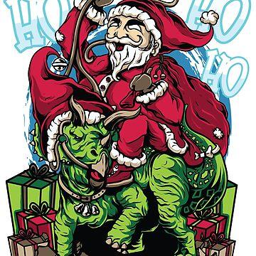 Christmas - Santa Claus Riding Stegosaurus Dinosaur T Shirt by drlayson