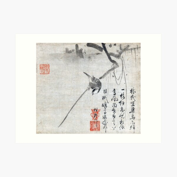 Bird on a Branch (Restored Japanese Artwork) Art Print