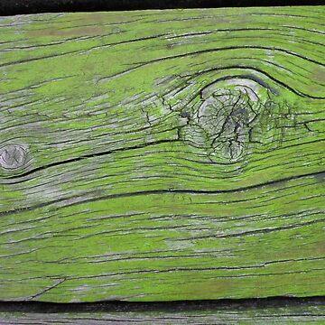 Old Wood Whorls in Bright Green by KeksWorkroom