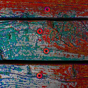 Wood Planks in Turquoise and Rust Orange - Horizontal by KeksWorkroom