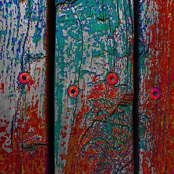 Wood Planks in Turquoise and Rust Orange - Vertical by KeksWorkroom