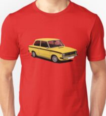 DAF 66 Saloon - Super Luxe - car illustration - yellow with black stripe Slim Fit T-Shirt