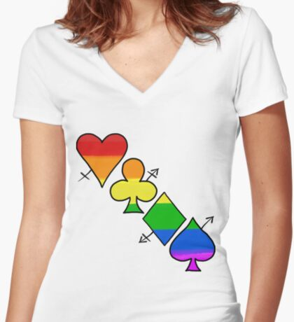 LGBT Poker Fitted V-Neck T-Shirt