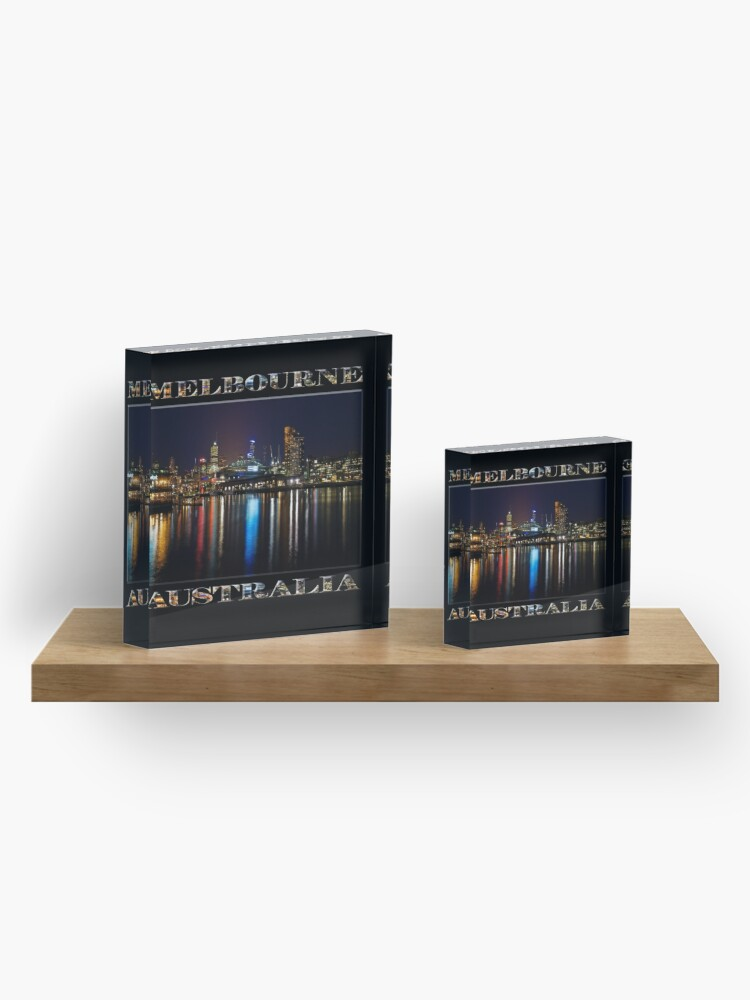 Alternate view of Harbour Lights (poster edition on black) Acrylic Block