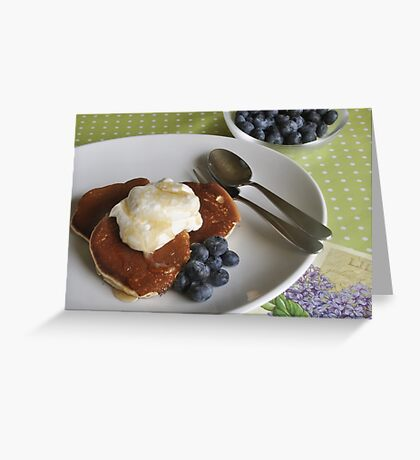Crumpets, cream and blueberries Greeting Card