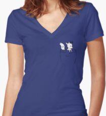 Taschenzweig Tailliertes T-Shirt mit V-Ausschnitt