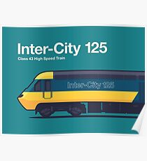 Iconic Trains - InterCity 125 High Speed Train Side Profile Green Poster