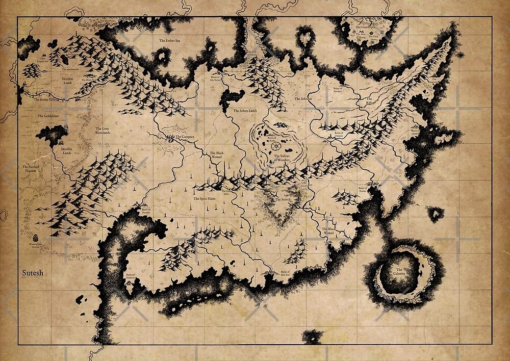 Fantasy map illustration - Old parchment by zachholmbergart