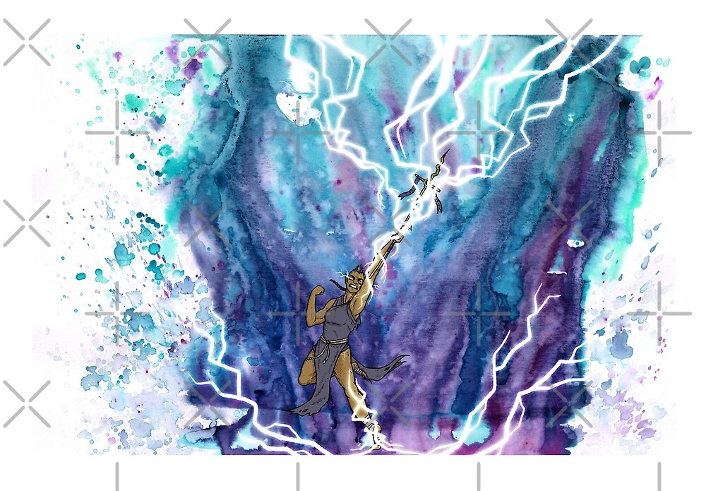 Fantasy magic artwork - Lightning illustration - Watercolor digital art by zachholmbergart