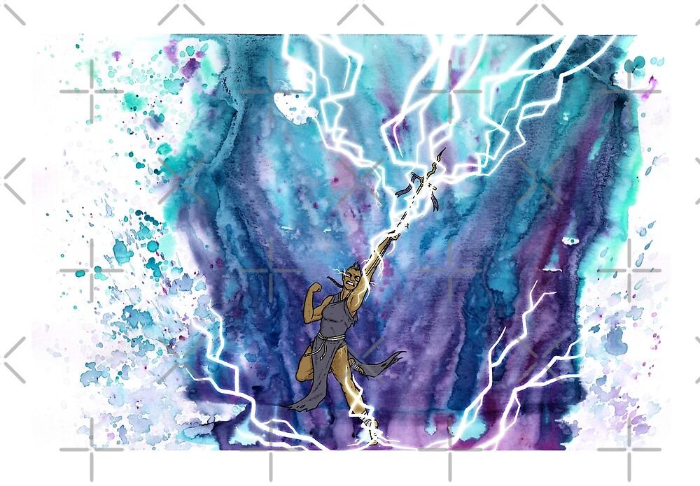 Fantasy magic artwork - Lightning illustration - Watercolor digital art by zachholmbergart