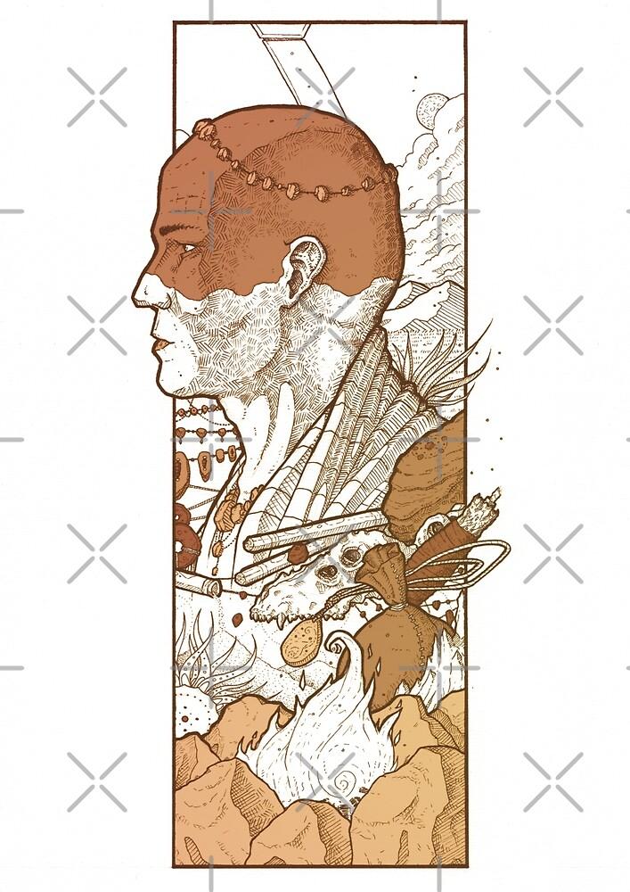 Fantasy tribal illustration - Ink digital artwork - Ritual objects by zachholmbergart