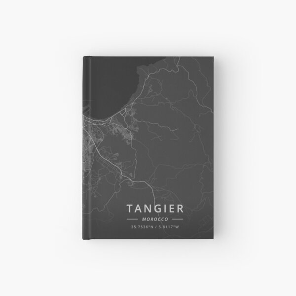 Tangier, Morocco Dark Map Hardcover Journal