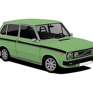 V 66 Combi - vintage car illustration - green by knappidesign