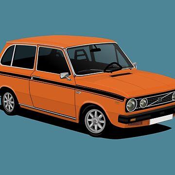 V66 Combi - car illustration - orange by knappidesign