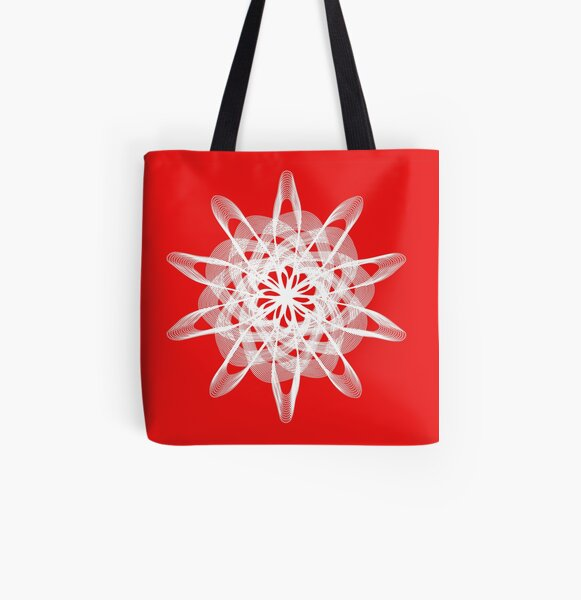 Spirograph with white All Over Print Tote Bag