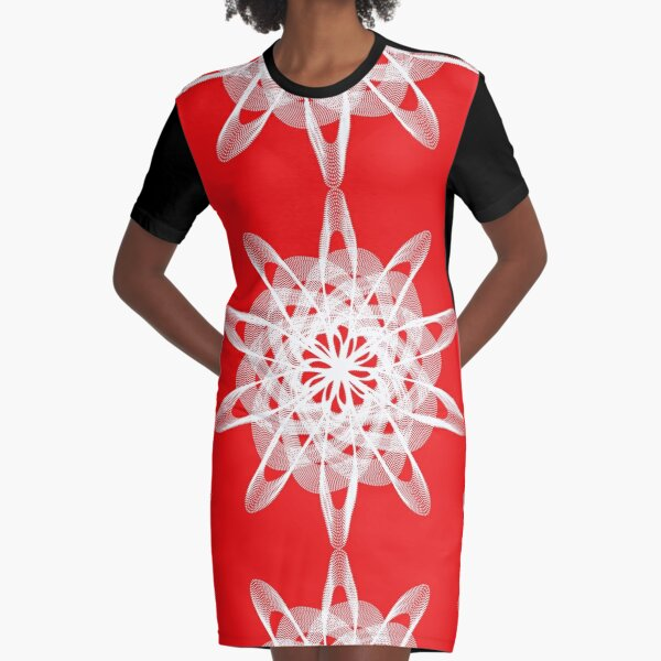 Spirograph with white Graphic T-Shirt Dress