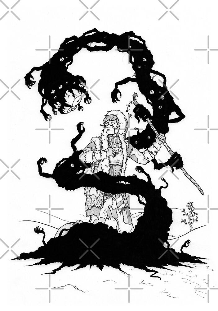 Fantasy horror illustration - Ink drawing - Black white monster art by zachholmbergart