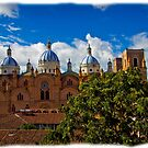 The Blue Domes Of Cuenca III by Al Bourassa
