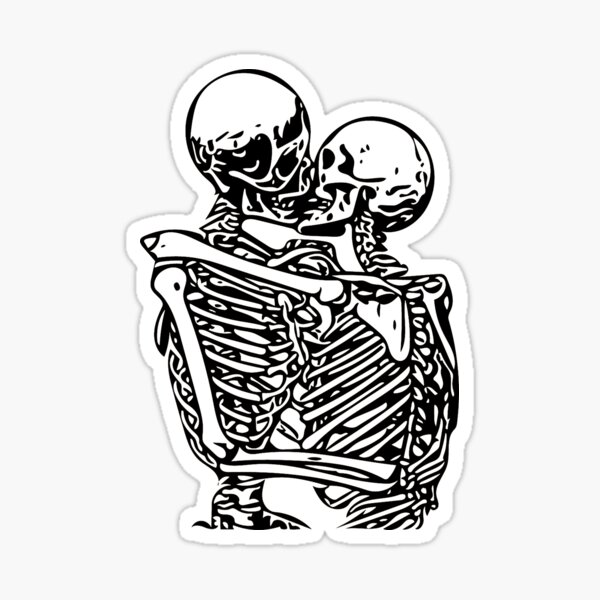 Kissing skeletons rib cage Sticker