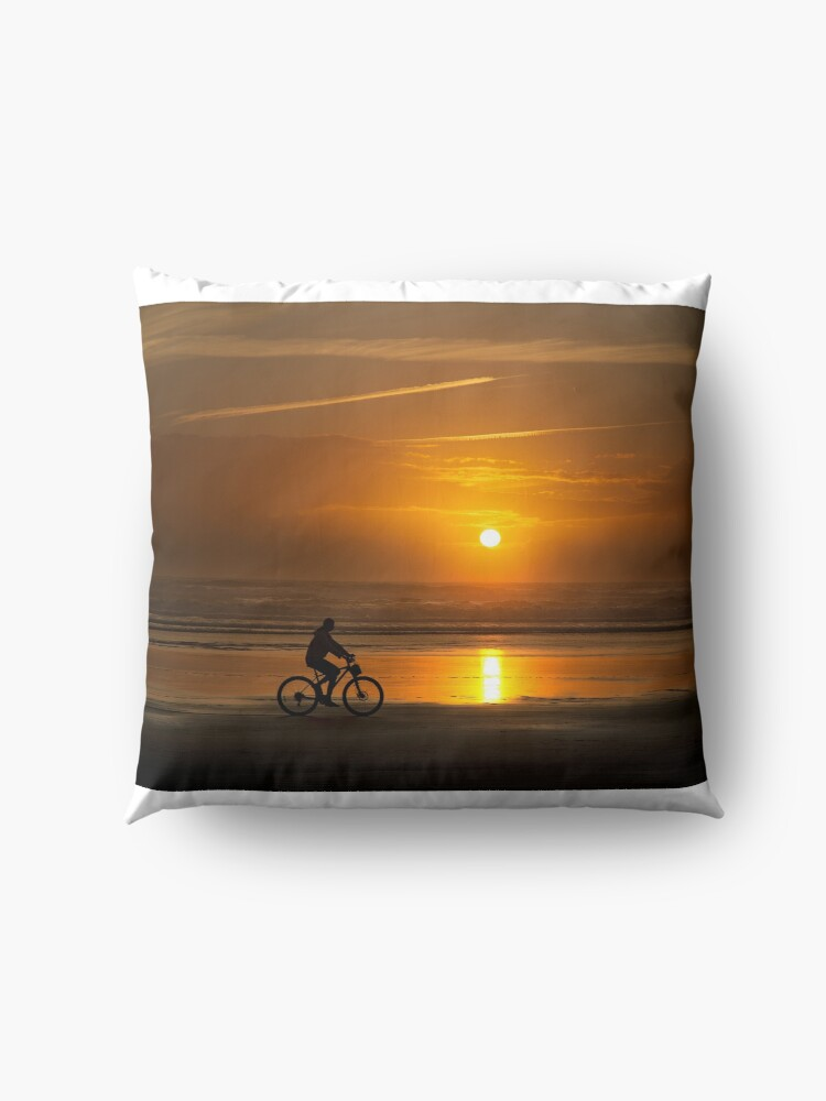 Alternate view of Silhouette of a cyclist along Cannon Beach Oregon Floor Pillow