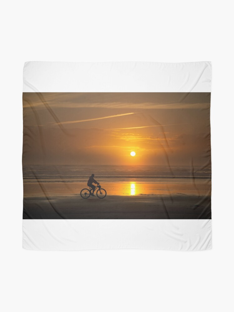Alternate view of Silhouette of a cyclist along Cannon Beach Oregon Scarf