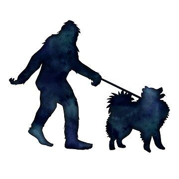 Bigfoot walking an American Eskimo dog on a leash by TriPodDogDesign