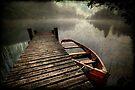 Loch Ard Misty Jetty (textured) by David Mould