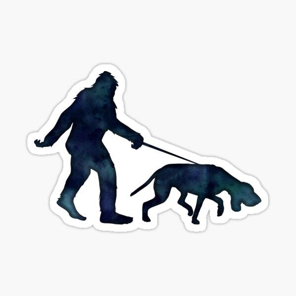 Bigfoot Walking a Bloodhound on a Leash Sticker