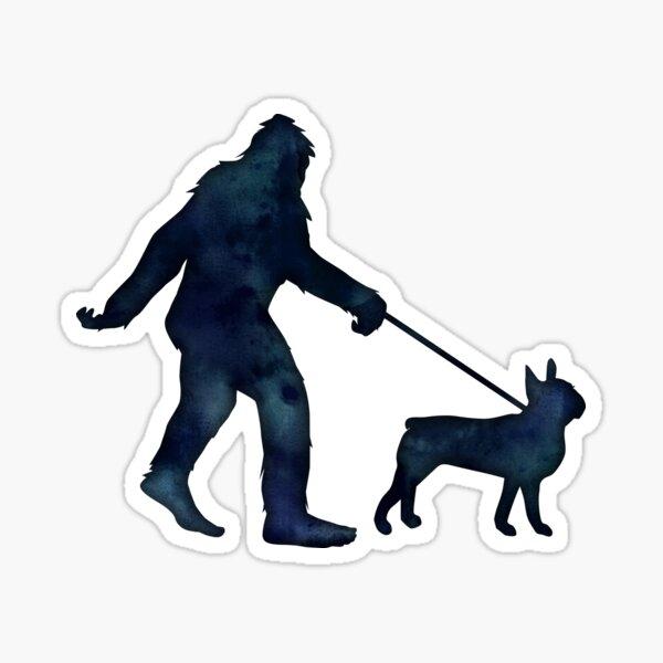 Bigfoot walking a Boston Terrier on a Leash Sticker